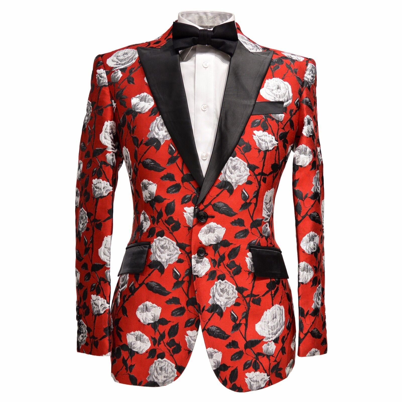 Angelino Valen Men's Two Button Floral Modern Fit Formal Blazer Sport Coat Red