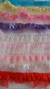 2 INCH  GATHERED LACE ORGANZA WITH  SATIN DETAIL  /& SEQUIN  TRIM FROM 99p .