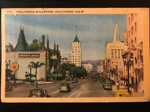 Vintage-Postcard-gt-1947-gt-Hollywood-Boulevard-gt-Grauman-039-s-Chinese-gt-California