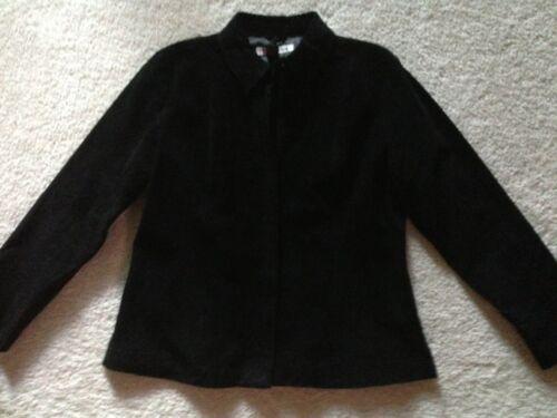 Læder Suede L Front Ægte Zip Jacket Vintage Sort Størrelse 5Ewq8xg