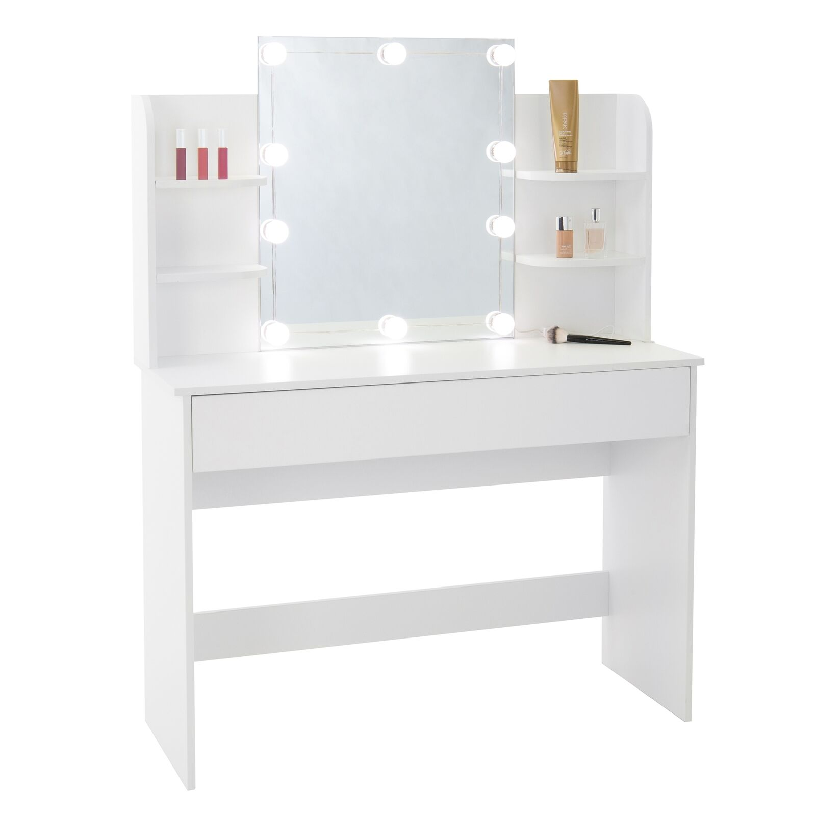 Tocador mesa de peluquería con espejo iluminación LED blanco cómoda dormitorio