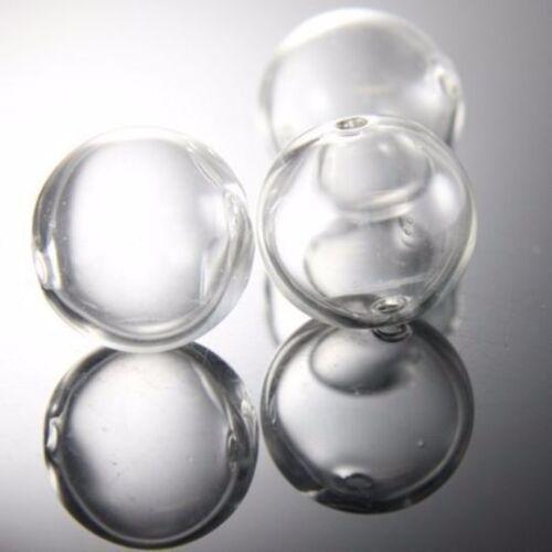 17H2 6 Pièces Main soufflé VERRE CREUX-round clair deux trous 20 mm