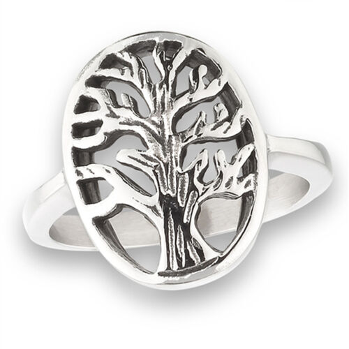 Filigree Tree of Life Tall Cutout Branches Ring Stainless Steel Band Sizes 5-10