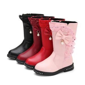 New Fashion Kids Girls Winter Lace Bowknot High Boots Warm Sweet Princess Shoes