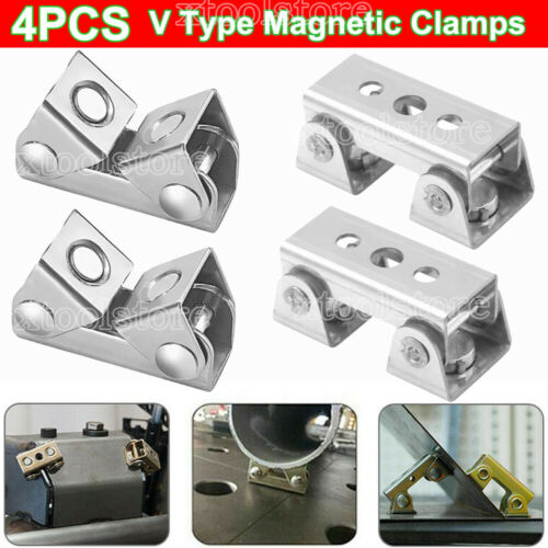 4x V Types Magnetic Welding Clamps Magnet HalterSuspender Fixture Adjustable XS4