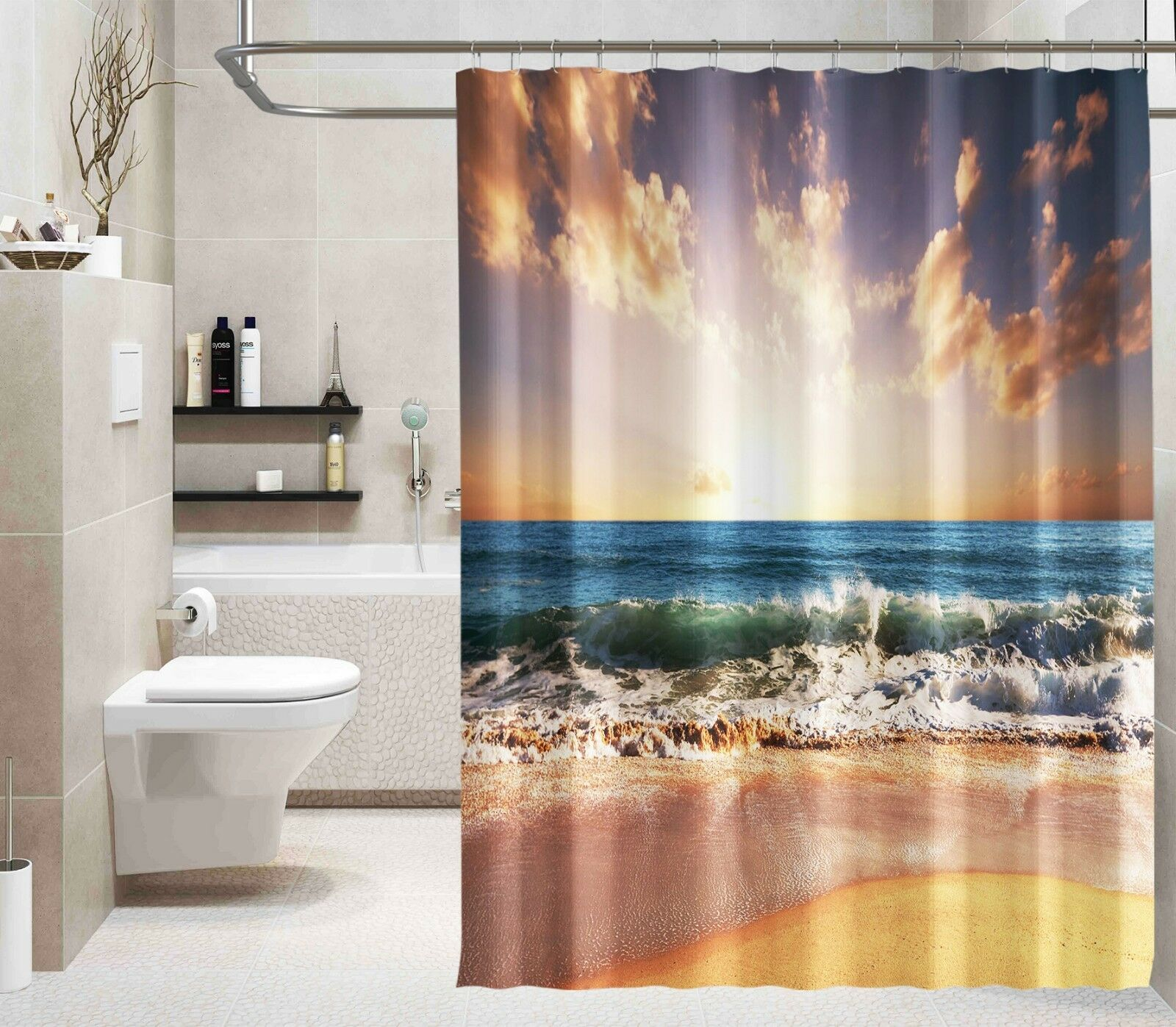 3D Sea Tide 46 Shower Curtain Waterproof Fiber Bathroom Windows Toilet Lemon 5737c6