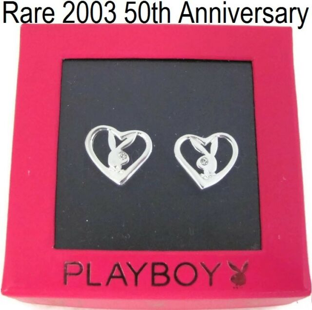925 Sterling Silver Playboy Earrings Bunny Heart Ear Stud NEW RARE NWT Genuine 9