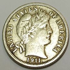 1911-D XF U.S. Barber Dime Antique Old US Vintage 10 Cent Currency