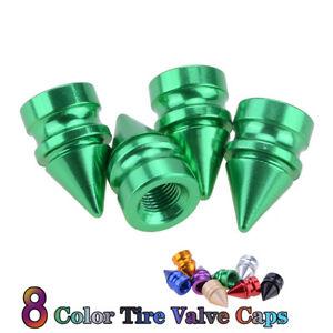 4 Green Aluminum Metal Spike Wheel//Tire Valve Stem Car-Truck Air Caps Covers