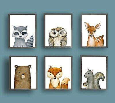 Woodland Baby Forest Animals Wall Art Prints For Boy Nursery Bedroom Ebay