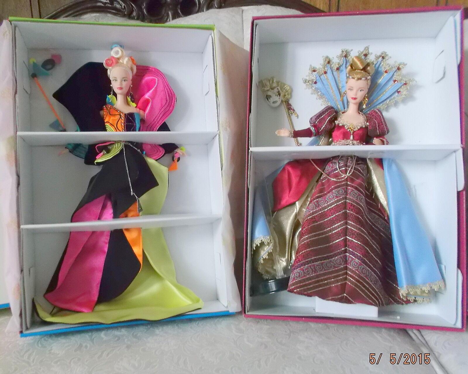 Lote 1998 nunca quitado de la Caja Mascarada Rendezvous & muestra 1999 veneciano riqueza Barbie