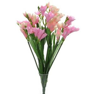 Artificial pink freesia bush with 12 flowering stems and buds 52cm image is loading artificial pink freesia bush with 12 flowering stems mightylinksfo