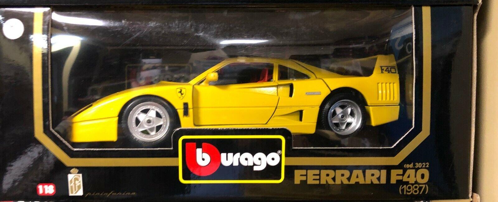 Ferrari F40 GIALLO MODENA giallo 1 18 por Burago 3022 Raro Nuevo En Caja