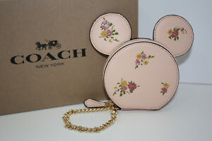 more photos 48c67 87932 Details about NWT Coach DISNEY X MINNIE MOUSE Coin Purse Vintage Pink  LIMITED EDITION F29365