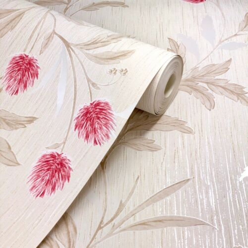 Luxury Designer Red Clover Textured Wallpaper by Grandeco A33804-179236