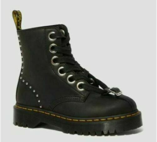 Dr Martens AirWair Gomez Studded Black Maldova Combat Boots Women Size 5 NWT