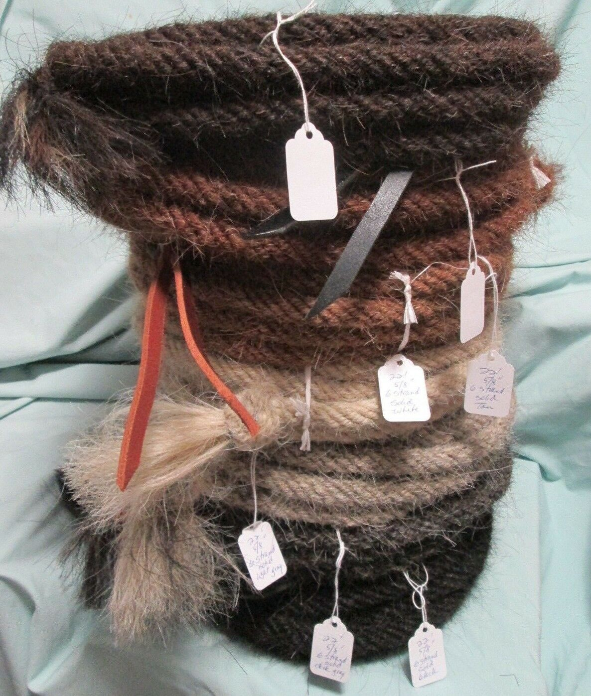 Mane Horse Hair Mecate 22 feet, 5 8  diameter, Solid Farbes (7 choices)