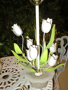 VintageTole-Table-Lamp-Italy-Bouquet-Of-Tulips-Flowers-Marble-Base