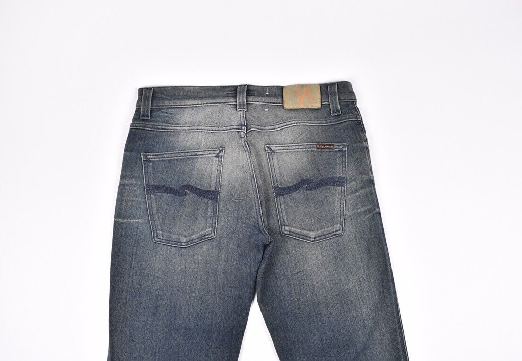Nudie Slim Jim Craped bluee Grey Men Jeans Size 34 34, Genuine