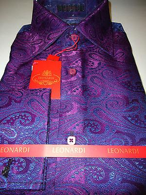 Mens Leonardi Purple Plum Blue Paisley High Collar French Cuff Dress Shirt # 004