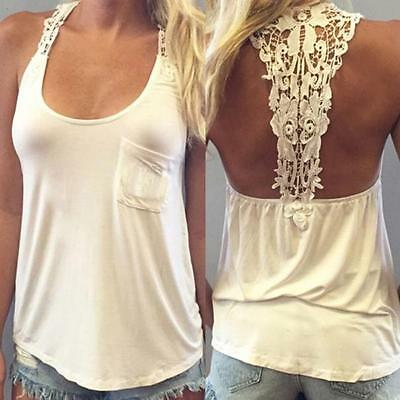 New Women Summer Tank Tops Sleeveless Lace Cotton Blouse Casual T-Shirt Tops