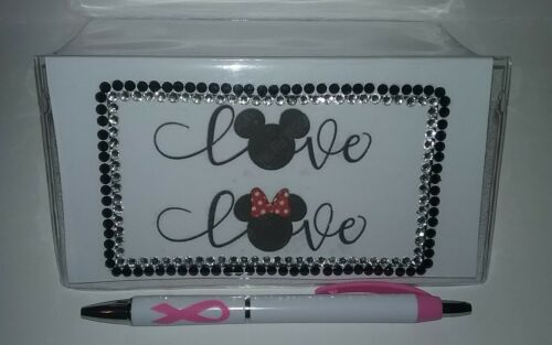 Minnie Mouse Love Checkbook Cover with Free Pink Awareness Pen