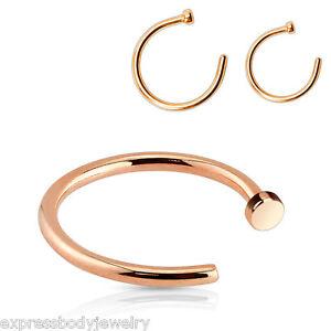 18g-Rose-Gold-IP-Steel-Nose-Ring-Hoop-316L-Surgical-Steel-1-4-034-Or-5-16-034-Or-3-8-034