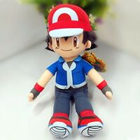"12"" Anime Pokemon Ash Ketchum Plush Toy Stuffed Doll Soft Cosplay Xmas Gift"