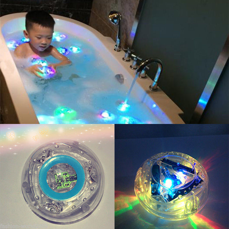 Waterproof LED Light Color Changing Toys Baby Bathroom Tub Water Fun Kids Toy 3X