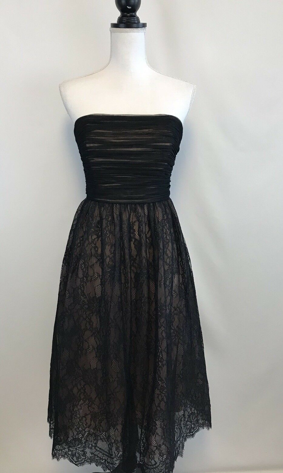New J Crew Strapless Lace Dress schwarz Sz 6