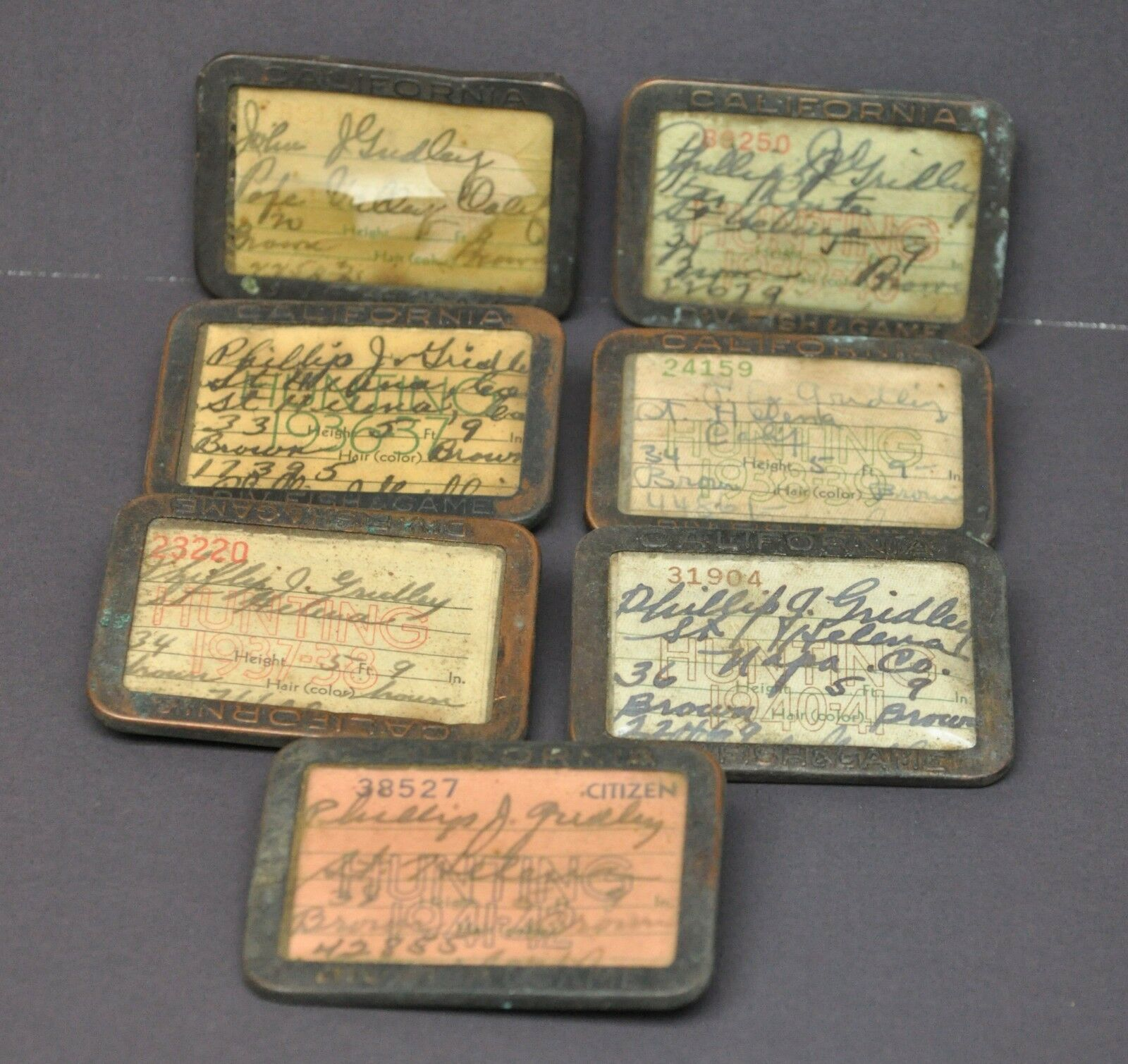 Vintage 19371942 California Hunting License Tags Lot St Helena Pope Vtuttiey CA