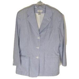 Talbots Womens 12 Blue White Striped Seersucker Blazer Jacket
