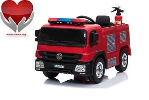 Asta-Cuoro-Onlus-Camion-dei-Pompieri-12V-Auto-Elettrica-Bambini-Dono-Babycar