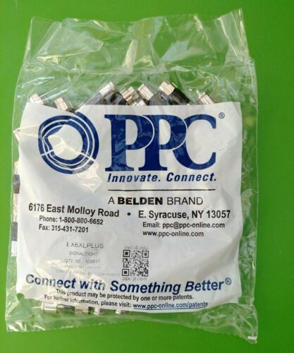 50 X 10 BAGS PPC EX6XLPLUS RG6 Universal Compression Connectors Free Shipping