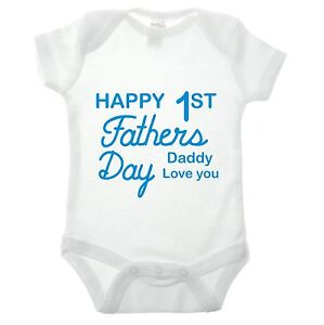 Happy First Fathers Day Baby Grow Funny Children Kids