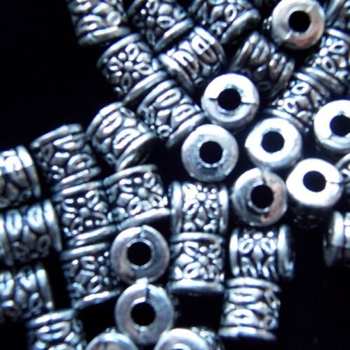 40x tibet silver style acrylic cylinder beads 8mm by 1st class