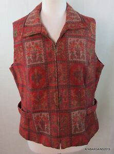 TERRITORY-AHEAD-Womens-Vest-Jacket-Size-16-Tapesty-Textured-Boho-Red-D320