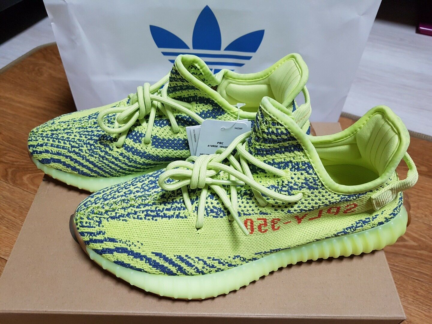 100% AUTHENTIC  Adidas Yeezy Boost 350 v2 Frozen Gelb.