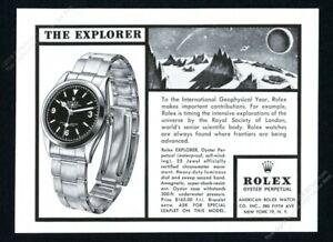 1958 Rolex Explorer watch moon outer space sci fi art vintage print ad