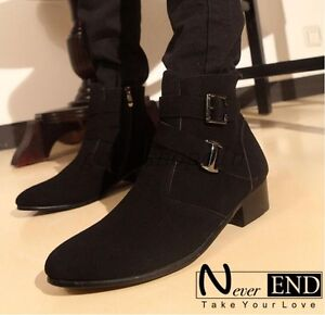 faux leather buckle ankle boots men