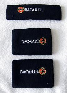 NEW-BACARDI-RUM-BAT-LOGO-HEADBAND-AND-WRISTBANDS-BLACK-TERRY-CLOTH-SWEATBANDS