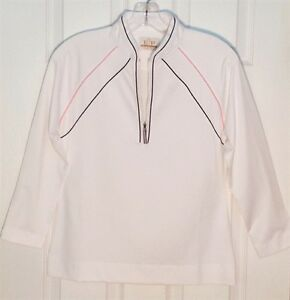 EP-PRO-Women-039-s-3-4-Sleeve-Golf-Shirt-White-w-Navy-and-Pink-piping