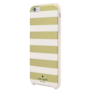 Kate-Spade-iPhone-6-iPhone-6s-Hard-Case-Snap-Cover-Gold-Cream-White-Stripe