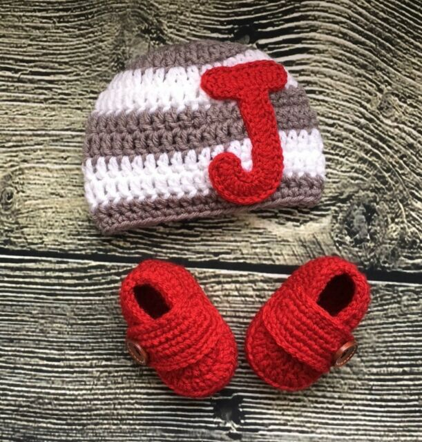 Newborn Baby Boy Monogram Letter Hat Booties Crochet Outfits Photo Prop Gift Ebay