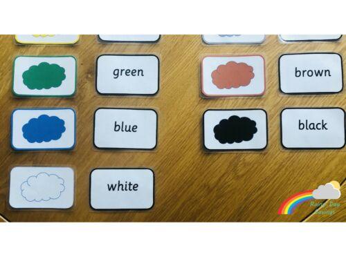 Couleurs et mots cartes préscolaire//KS1//Homeschool//SEN//Aide visuelle//KIDS