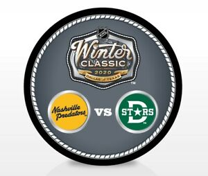 2020-Winter-Classic-NHL-Dueling-Souvenir-Puck-Nashville-Predators-Dallas-Stars