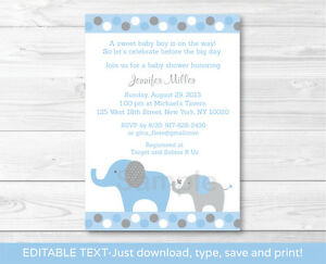 photograph about Printable Baby Shower Invitations named Facts over Blue and Gray Polka Dot Elephants Printable Child Shower Invitation Editable PDF