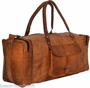 300c2ea42f56 Men s Brown Leather Large Luggage Duffle Gym Bag Travel Weekend Tote ...