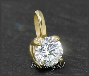 Brillant-585-Gold-Damen-Anhaenger-0-74ct-Diamant-in-River-amp-Si-Gelbgold-Gleiter