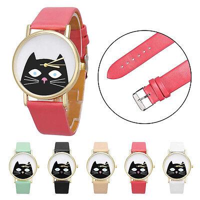 Cute Cat Women Men Leather Band Analog Quartz Dial Fashion Casual Wrist Watch